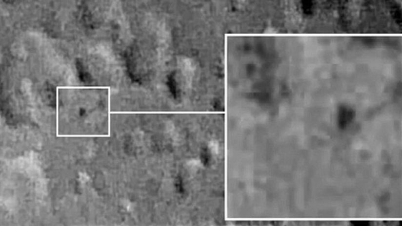 OVNI con forma de triángulo en la superficie de la luna