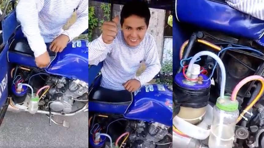 Joven ingeniero peruano inventó una mototaxi que funciona solo con agua